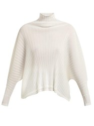 Pleats Please Issey Miyake Pleated Batwing Top Ivory