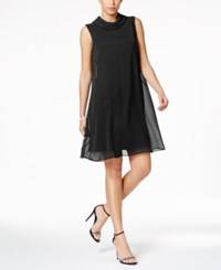 Connected Petite Flyaway Trapeze Dress Black