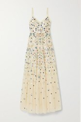 Needle And Thread Wildflower Sequined Tulle Gown Beige