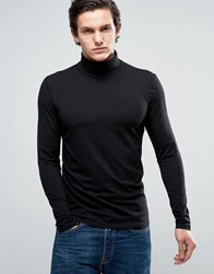 New Look Long Sleeve Top With Roll Neck In Black Black