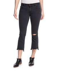 Dl1961 Lara Cropped Flare Leg Jeans With Ripped Knee Black