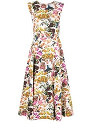 Adam By Adam Lippes Floral Print Fluted Dress Multicolour
