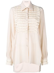 Ermanno Scervino Pearl Buttons Shirt Women Silk Brass Polymethyl Methacrylate 40 Pink Purple