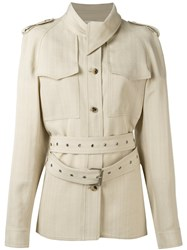 Celine Belted Trench Coat Nude Neutrals