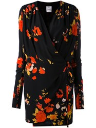 Eggs Floral Print Wrap Dress Women Silk 44 Black
