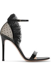 Gianvito Rossi 105 Ruffled Point D'esprit And Patent Leather Sandals Black