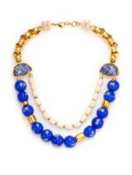 Lizzie Fortunato Society Islands Bone Coral And Turquoise Beaded Double Strand Necklace Gold Cobalt