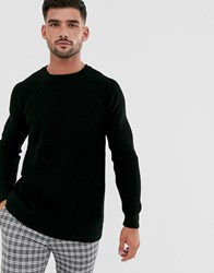 New Look Tuck Stitch Crew Neck Jumper In Black