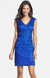 Sue Wong Embroidered Sheath Dress Sapphire