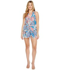Adelyn Rae Acacia Woven Surplice Romper Blue Orange Women's Jumpsuit And Rompers One Piece