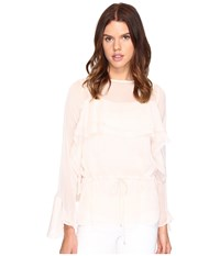 See By Chloe Georgette Long Sleeve Ruffle Blouse Powder