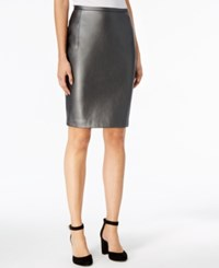 Tommy Hilfiger Faux Leather Straight Skirt Gunmetal