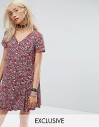 Reclaimed Vintage Inspired Festival Button Front Tea Dress In Floral Red
