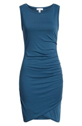 Leith Ruched Body Con Tank Dress Blue Ceramic