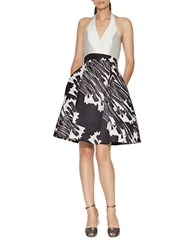 Halston Halter Neck Print Blocked Fit And Flare Dress Black Croc