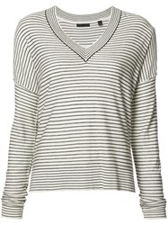 Atm Anthony Thomas Melillo Striped V Neck Jumper White