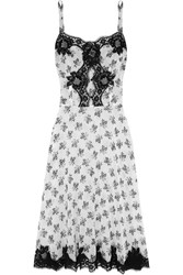 Dolce And Gabbana Lace Trimmed Floral Print Silk Blend Georgette Chemise White