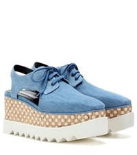 Stella Mccartney Elyse Cut Out Denim Platform Derby Shoes Blue