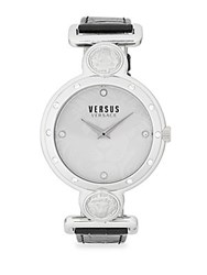Versus By Versace Swarovski Crystal Studded White Dial Leather Strap Watch Silver