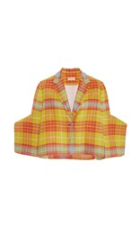 Delpozo Short Checkered Jacket Yellow Orange