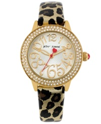 Betsey Johnson Watch Women's Leopard Print Leather Strap 32Mm Bj00251 01