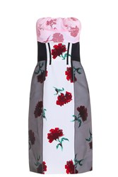 Oscar De La Renta Carnation Cocktail Dress Red