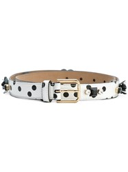 Dolce And Gabbana Embellished Polka Dot Belt White