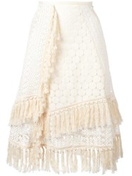 See By Chloe Crochet Layered Skirt Nude Neutrals