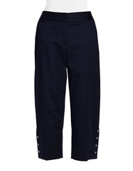 Rafaella Petite Curvy Fit Faux Snap Capri Pants Midnight