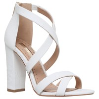 Miss Kg Faun Cross Strap Block Heeled Sandals White