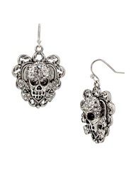 Betsey Johnson Throwback Skull Drop Earrings Silver
