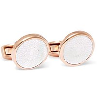 Tateossian Rotondo Rose Gold Plated Mother Of Pearl Cufflinks