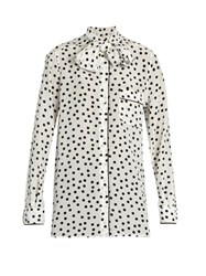 Dolce And Gabbana Polka Dot Print Silk Crepe De Chine Blouse White Black