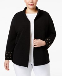 Jm Collection Plus Size Embellished Open Front Jacket Only At Macy's Deep Black