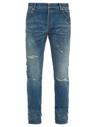Balmain Distressed Slim Leg Jeans Denim
