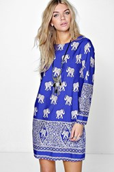 Mirelle Elephant Print Long Sleeve Shift Dress