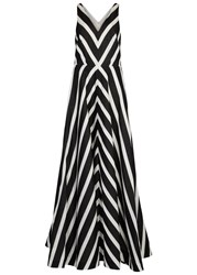 Halston Monochrome Chevron Faille Gown Black And White