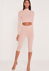 Missguided Carli Bybel Cropped Leggings Pink Red