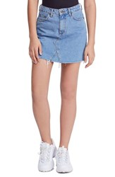 Bdg Urban Outfitters Denim Raw Edge Miniskirt Indigo Blue