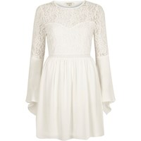 River Island Womens Cream Lace Long Bell Sleeve Dress
