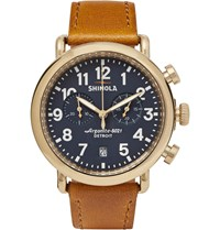 Shinola The Runwell 41Mm Pvd Gold Plated And Leather Chronograph Watch Blue