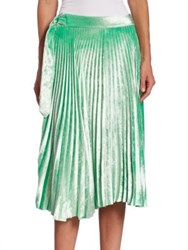 Victoria Beckham Pleated Velvet Skirt Mint