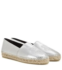 Kenzo Embossed Metallic Leather Espadrilles Silver