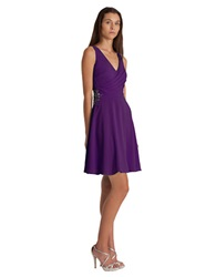 Js Boutique Stretch Crepe Chiffon A Line Dress Purple