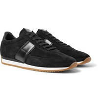 Tom Ford Orford Leather Trimmed Suede Sneakers Black