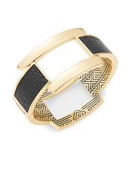 House Of Harlow Leather Accented Goldtone Bangle Bracelet Black