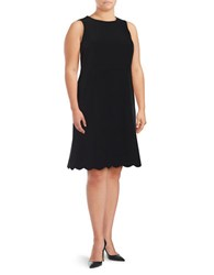 Nipon Boutique Plus Scalloped A Line Dress Black