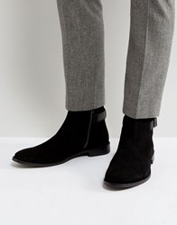 Asos Chelsea Boots In Black Suede With Strap Detail Black