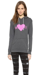 Rodarte Rohearte Hoodie With Pink Heart Charcoal Grey Hot Pink