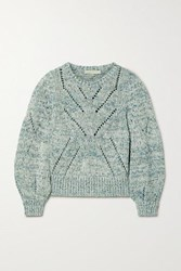 Vanessa Bruno Norren Cropped Cotton Blend Sweater Turquoise